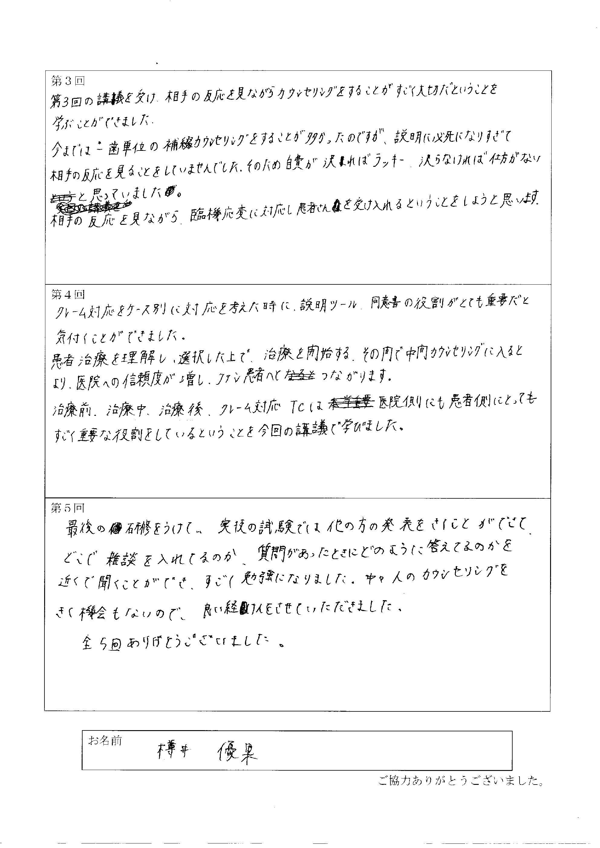 樽井優果 様アンケート