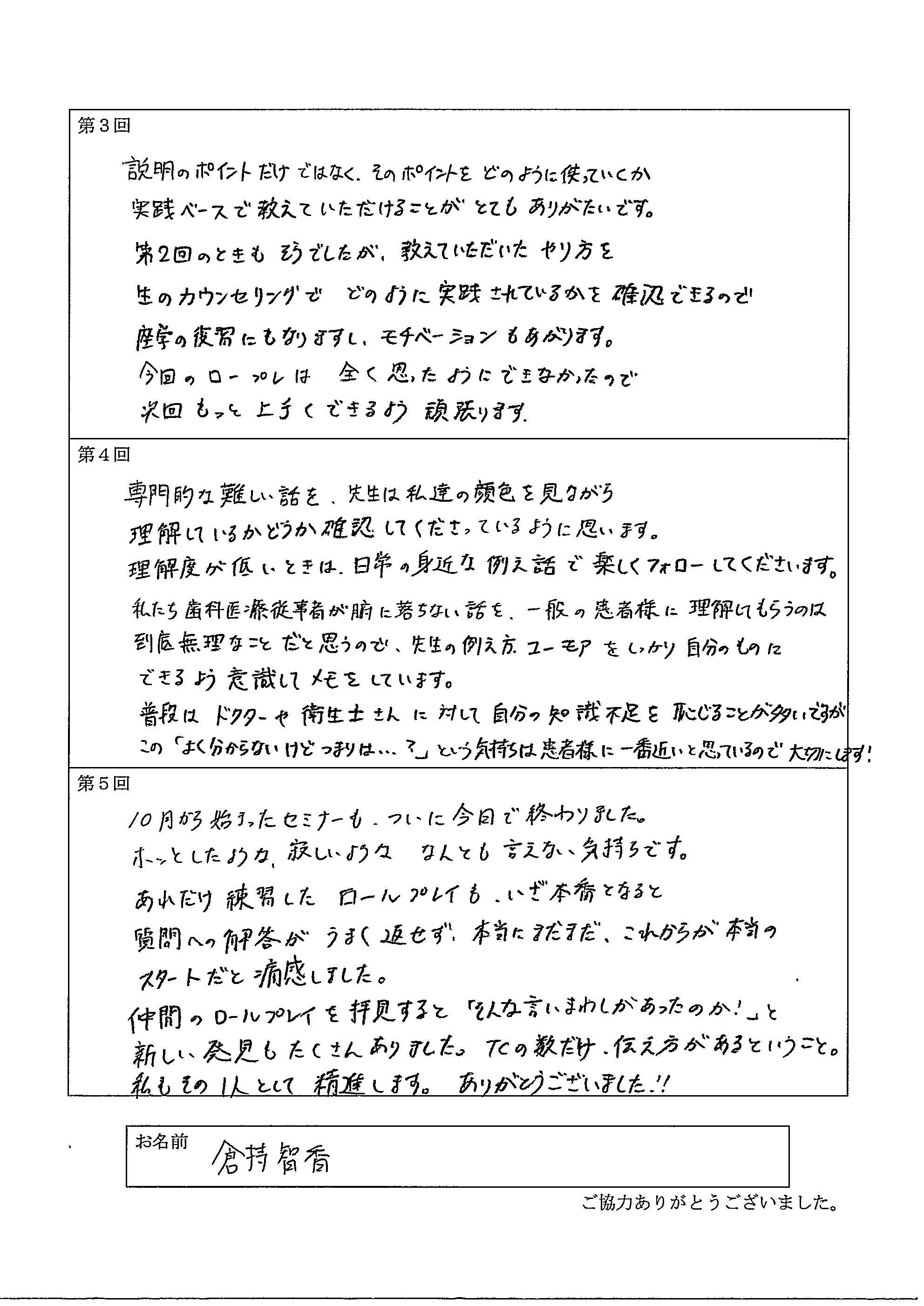 倉持智香 様アンケート