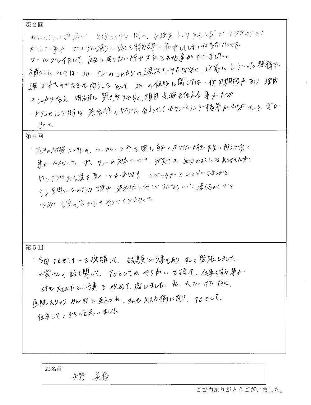 矢野 美優 様アンケート